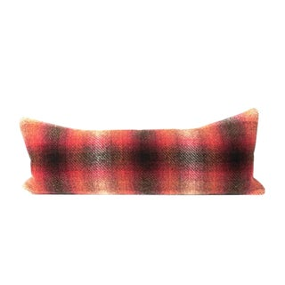 Red Ombre Plaid Bed Lumbar Pillow