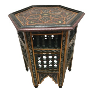 20th Century Moroccan Hand-Painted Dark Green Side Table With Moorish Designs For Sale