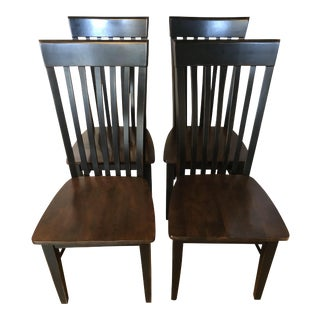 Mission Style Wooden Dining Chairs - Set of 4 For Sale