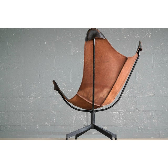 Brown William Katavolos Leather Sling Chair and Ottoman for Leathercraft For Sale - Image 8 of 8
