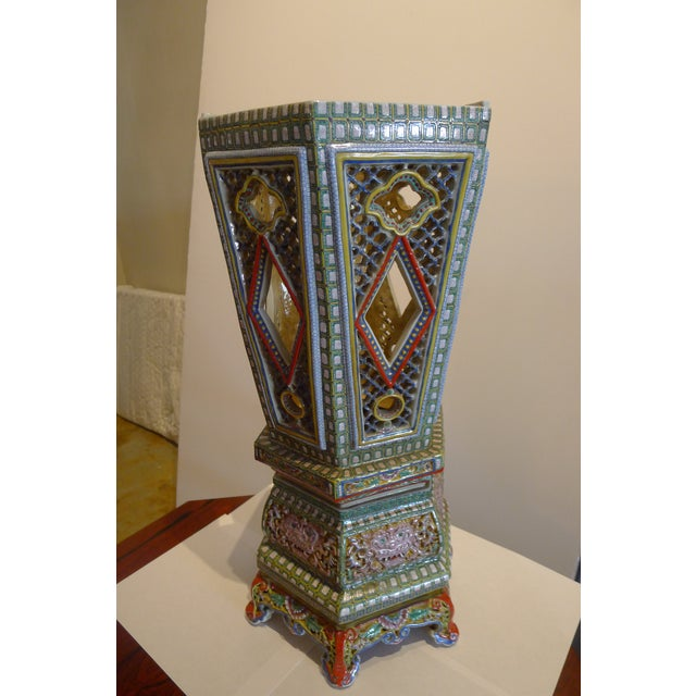 Famille Verte reticulated porcelain pottery Chinese Wedding Lantern. No signature or date. We are not experts for Chinese...