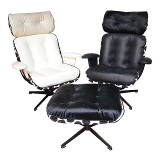Vintage Mid Century Modern Homecrest Wire Lounge Chairs and Ottoman Newly Upholstered For Sale