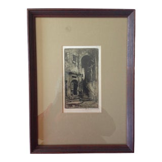 Early 20th Century Architectural Original Print by Michael Fromms, Framed For Sale