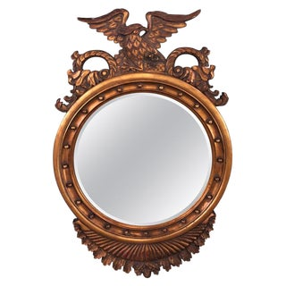 Late 20th Century Federal Style Eagle Crested Circular Wall Mirror For Sale