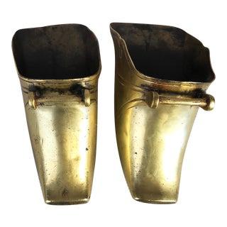 Large Antique Brass Ceremonial Stirrups - a Pair For Sale