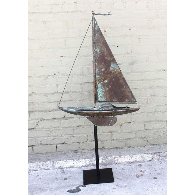 Mid 19th Century 19th c. New England Folk Art Copper Sailboat Weather Vane For Sale - Image 5 of 8