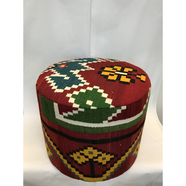Handmade item kilim stool. A beautiful and simple round ottoman made from vintage . Can be used as a table, seat or...