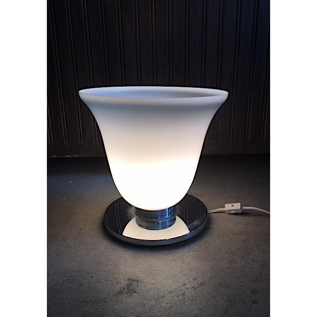Modern Mid-Century Frosted Glass & Chrome Table Lamp For Sale - Image 3 of 7