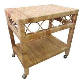 Rolling Rattan Tea Cart