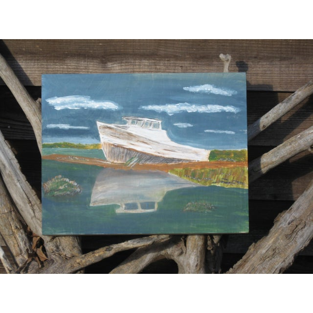 """Beached Boat"" Painting on Wooden Panel - Image 2 of 4"