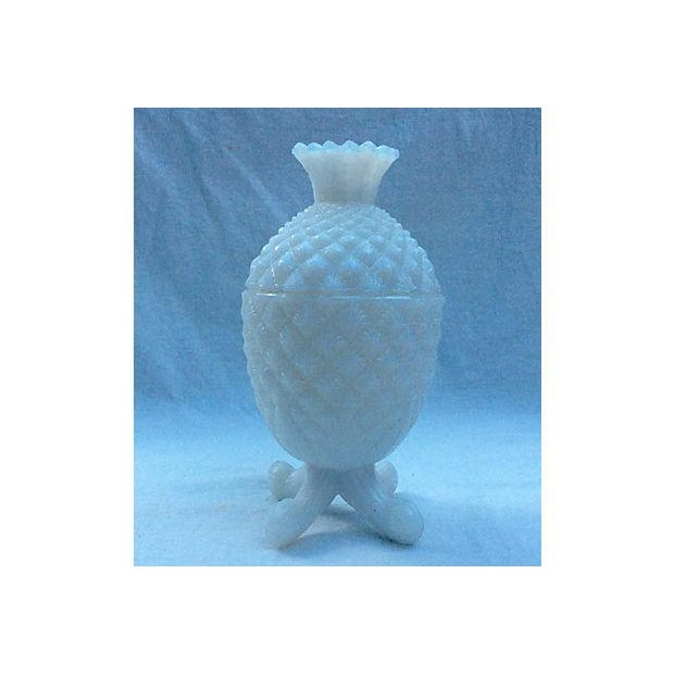 French 1940's Milk Glass Pineapple Candy Bowl - Image 2 of 5