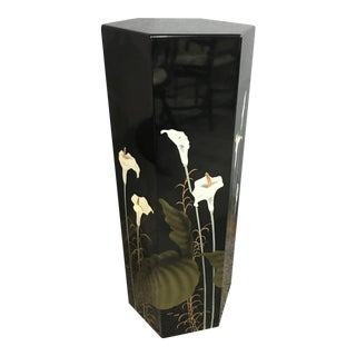 Black Lacquer Tall Pedestal Stand