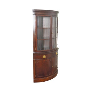 Drexel Travis Court Vintage 1940s Mahogany Bow Front Corner Cabinet For Sale