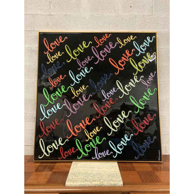 Abstract Monumental Art Framed Oil Painting With Resin on Canvas With Love Words by Franchy For Sale - Image 3 of 13