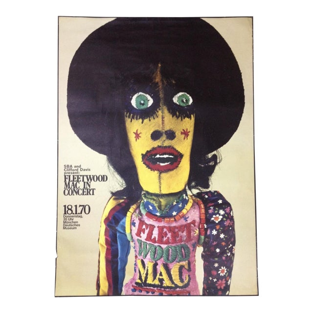 1970 Fleetwood Mac Concert Poster by Gunther Kieser Rare For Sale