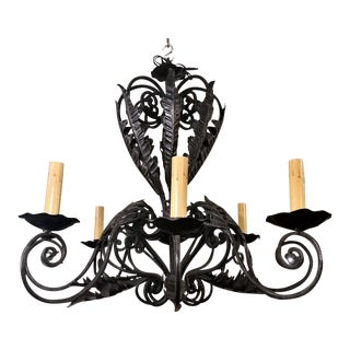 Antique Wrought Iron Chandelier, Circa 1910-1920.