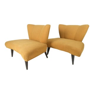 Vintage Modern Slipper Chairs Attributed to Kroehler - a Pair