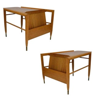 "John Keal ""Wedge"" Magazine Side Table for Brown Saltman, Pair For Sale"
