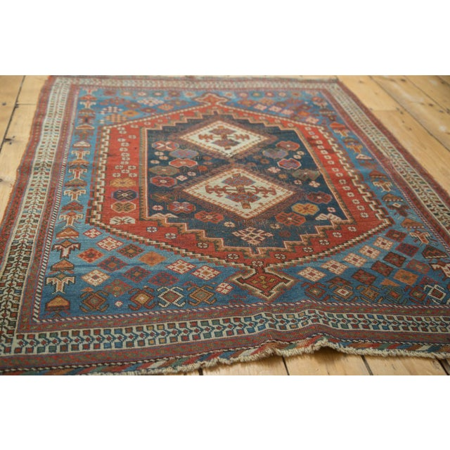 """Antique Afshar Square Rug- 3'6"""" x 4'5"""" - Image 4 of 7"""