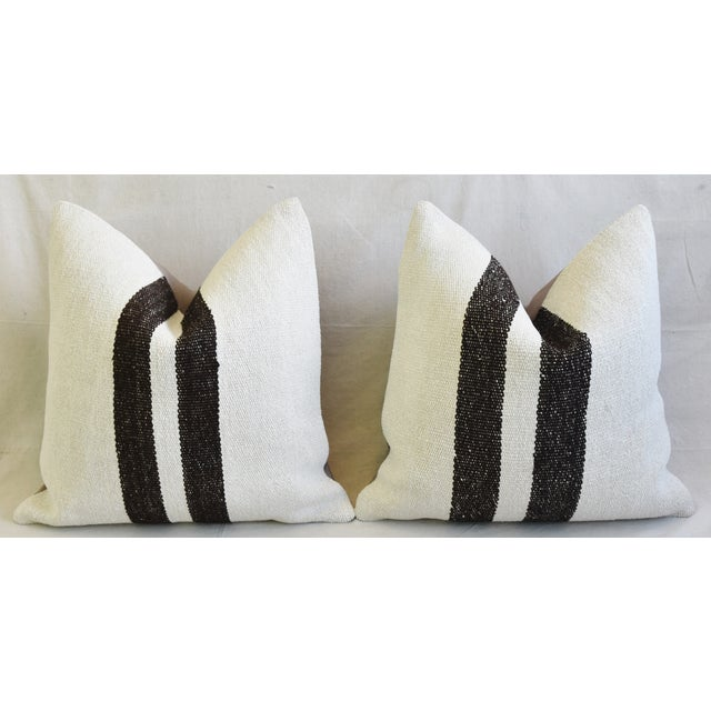 "Black Organic Hemp & Cotton Turkish Kilim Feather/Down Pillows 23"" Square - Pair For Sale - Image 8 of 13"