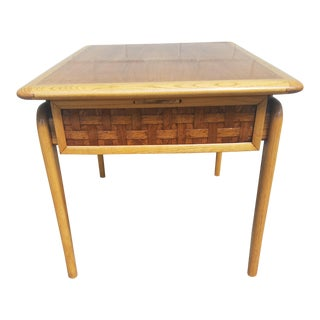 1970s Mid Century Modern Lane Furniture Perception Brass and Basket Weave Side Table For Sale