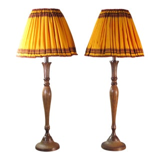 Table Lamps with Shades- A Pair For Sale