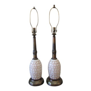 Ostrich Egg Style Table Lamps - a Pair For Sale