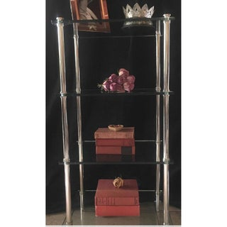 1970s Mid-Century Modern Tempered Glass Chrome Shelving Unit Preview