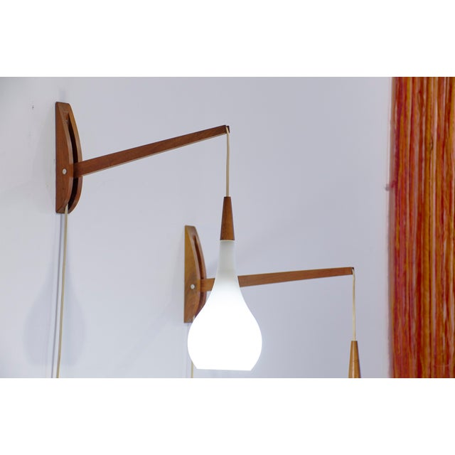 1950s Vintage Mid-Century Modern Adjustable Wall Sconces - a Pair For Sale - Image 9 of 11