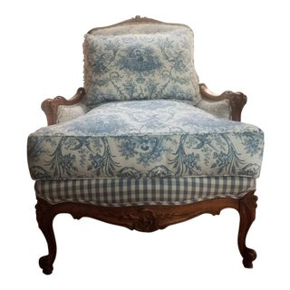 Vintage Pierre Deux French Provincial Blue Toile Arm Chair For Sale