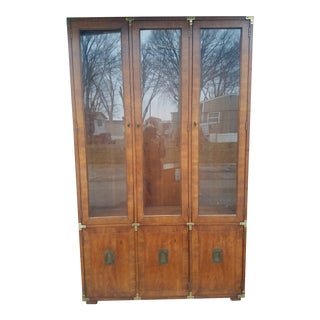 1970s Henredon Campaign China Cabinet For Sale