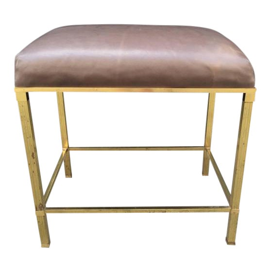 Brass Directoire Style Bench with Leather Seat - Image 1 of 4
