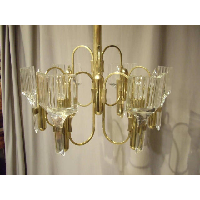 Brass 1960s Vintage Six-Light Glass and Brass Chandelier US Wired For Sale - Image 8 of 8