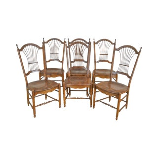 S. Bent Bros. Wheat Back Set of 6 Oak Dining Chairs For Sale
