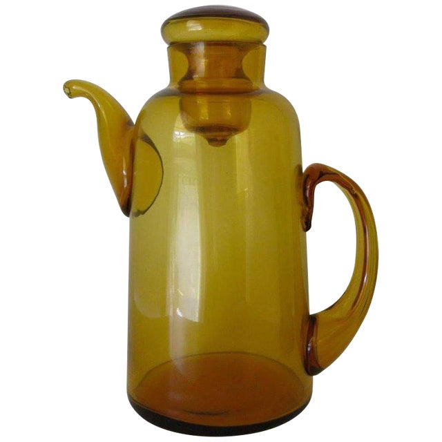 1940s Italian Empoli Amber Art Glass Lidded Pitcher For Sale