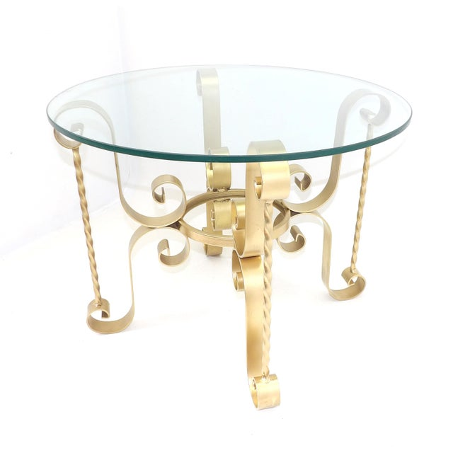 1960s 1960's Mid Century Modern Wrought Iron Round Glass Side Table For Sale - Image 5 of 10