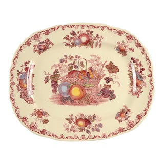 "1980s Franciscan Fruit Basket 13"" Oval Serving Platter For Sale"
