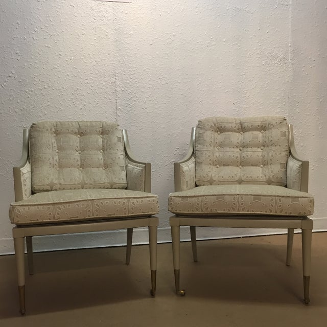 Vintage Mid-Century Taupe Armchairs - A Pair - Image 2 of 7