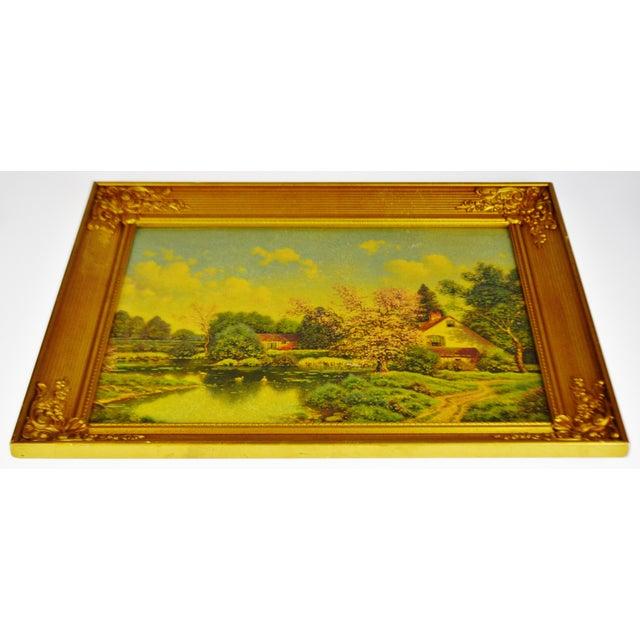 Mid 20th Century Vintage Gilt Framed Landscape Print on Textured Board For Sale - Image 5 of 13