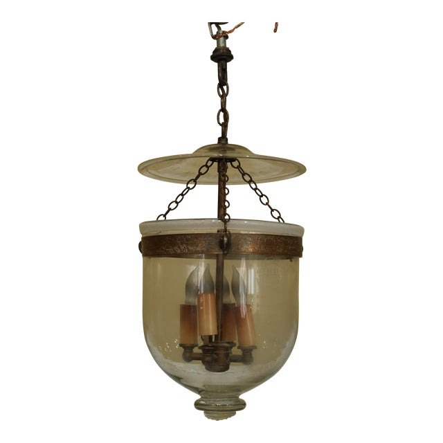 Vintage De Grelle Belgium Bell Form Chandelier Light Fixture For Sale
