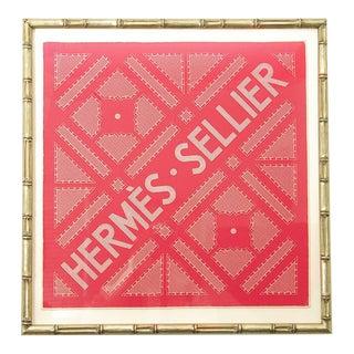 Vintage Hermès Sellier Rose Silk Pocket Square, Framed For Sale