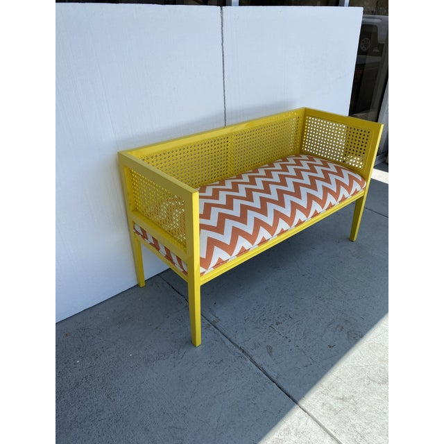 Wood Midcentury Cane Loveseat For Sale - Image 7 of 13