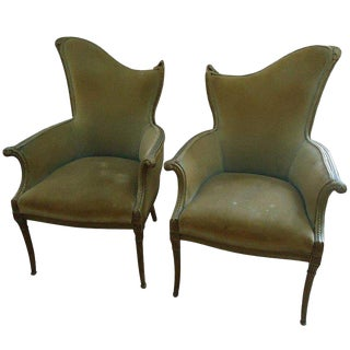French Art Deco Velvet Armchairs - a Pair
