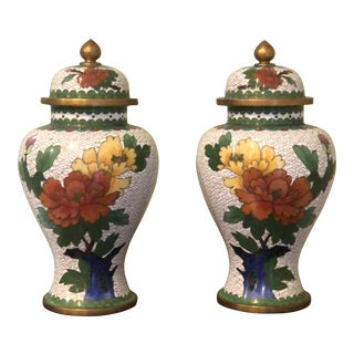Vintage Chinese Cloisonné Enamel and Brass Urns - a Pair For Sale