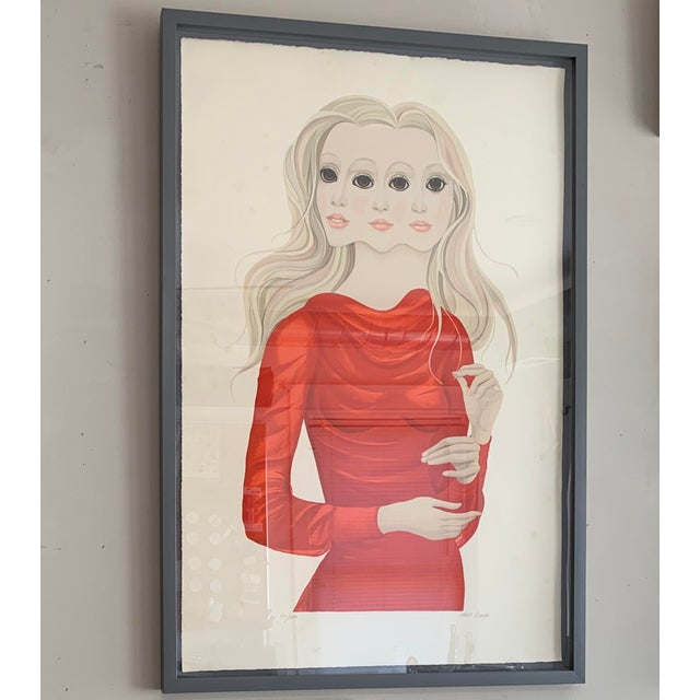 Red 1976 Margaret Keane Signed Lithograph Portrait Print For Sale - Image 8 of 9