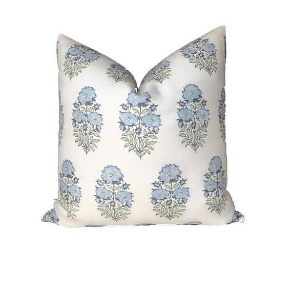 Boho Chic Mughal Flower Pillow Cover in Monsoon Blue For Sale - Image 3 of 3