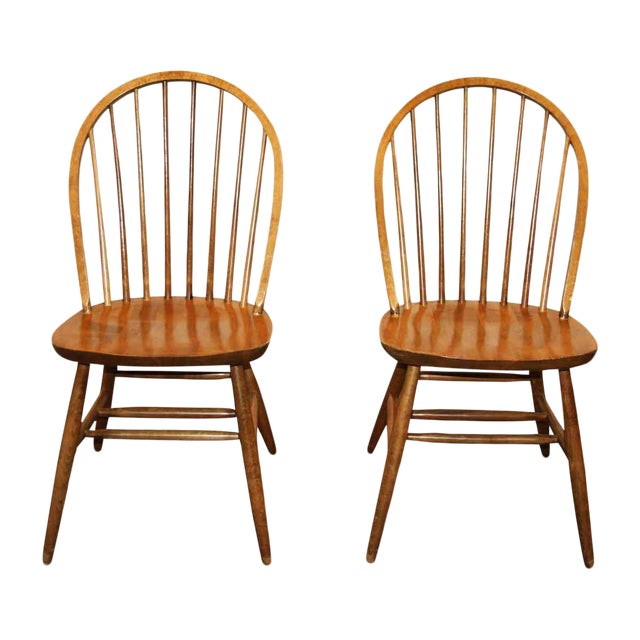 Bow Back Dining Chairs ~ Antique bow back windsor wooden dining room chairs a