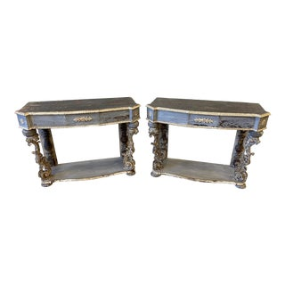 Pair of Italian Painted Console Tables For Sale