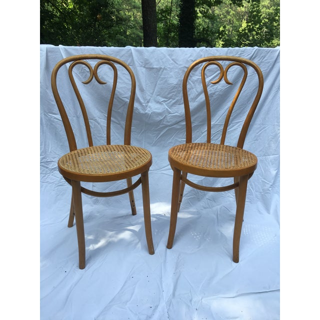 1900s Boho Chic Thonet Sweetheart Style Bistro Chairs - a Pair For Sale - Image 11 of 11