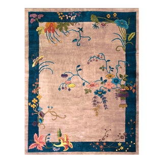 "Antique Chinese Art Deco Rug 8'10"" X 11'4"" For Sale"